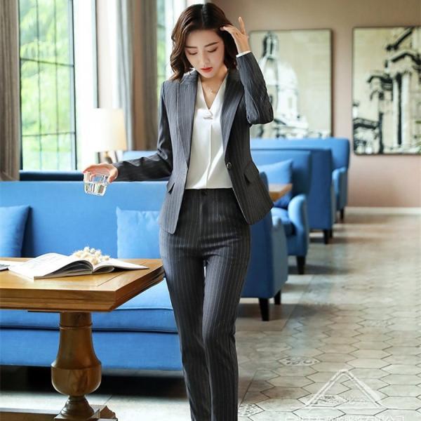 ビジネススーツ リクルートスーツ 2点セット レディーススーツ ストライプ フォーマル 就活 スカートスーツ パンツスーツ 面接 オフィス 通勤 OL 女性 きれいめ|isenn|05
