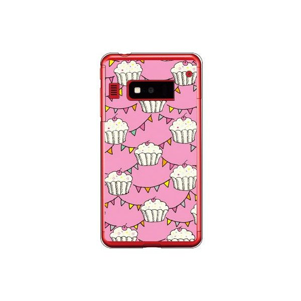 iida INFOBAR A03 ケース カバー ケーキ柄 ケーキデザイン カップケーキ ピンク