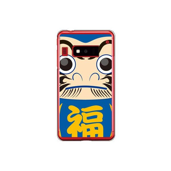 iida INFOBAR A03 ケース カバー 和柄 和物 伝統 祝い 達磨 ダルマ ブルー