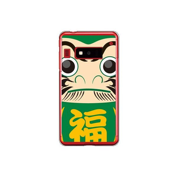 iida INFOBAR A03 ケース カバー 和柄 和物 伝統 祝い 達磨 ダルマ グリーン