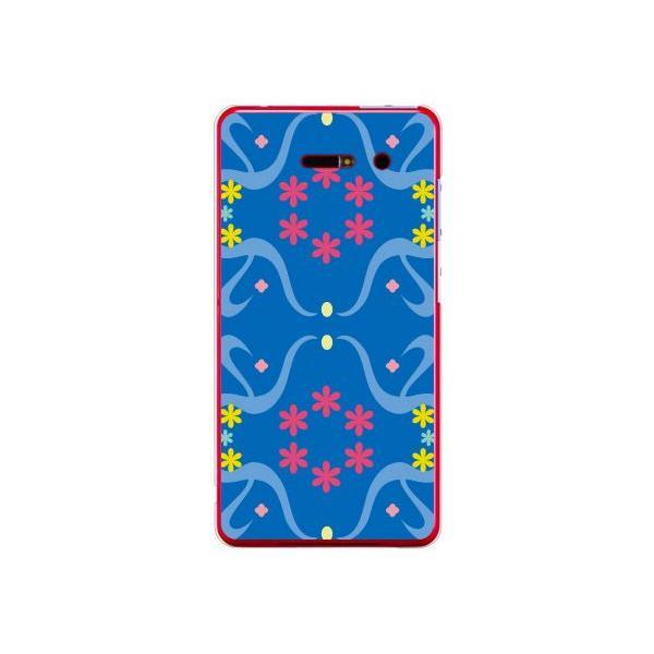 iida INFOBAR A02 ケース カバー 花柄 花模様 花柄 花模様 スモールフラワー パターン ブルー