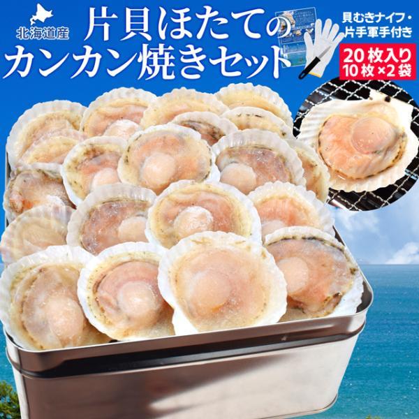 ほたて カンカン焼きセット 20枚入 冷凍ほたて 送料無料 北海道産 半缶入り(貝むきナイフ・片手用軍手付き) ほたて片貝 海鮮 バーベキューセット