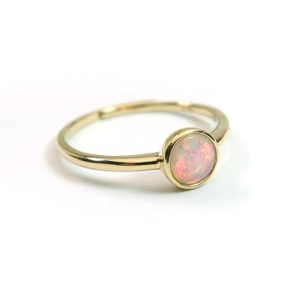 プレシャスオパール(オーストラリア産) K10YG(10金)ゴールド リング 指輪 フリーサイズ(9ー13号) インドジュエリー