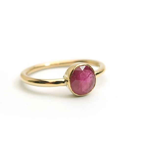 ルビー リング10号 K10YG(10金イエローゴールド) 指輪 インドジュエリー