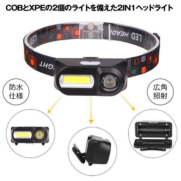 ヘッドライト 充電式  2IN1 超強力 LED ヘッドランプ 釣り 登山 アウトドア キャンプ COB XPE 非常灯 HEADCOB