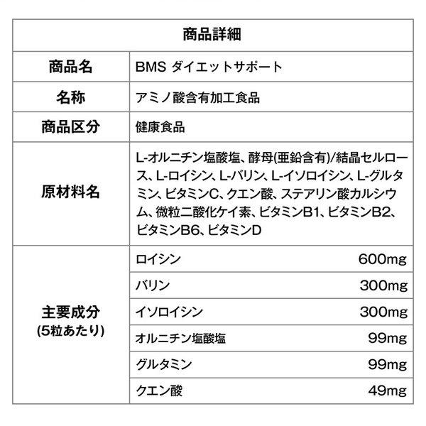 BMSシリーズ アミノ酸 サプリ オルニチン BMS ダイエットサポート 180粒 約30日分 魔裟斗愛用【美BODY】|ishokudogen-store|15