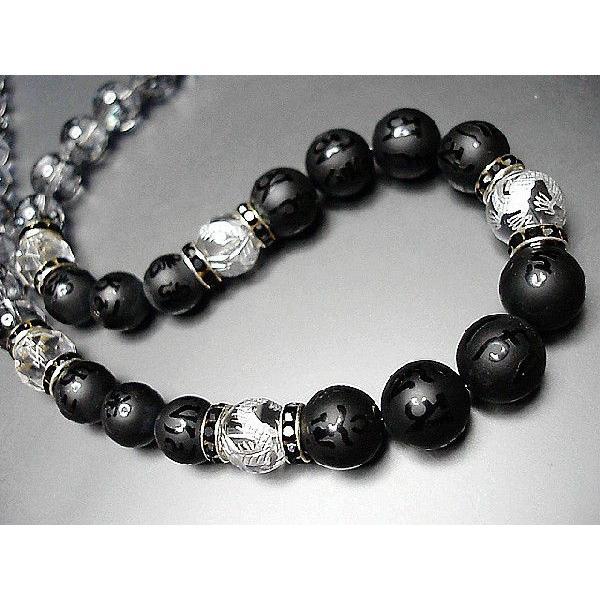 天然石4A大玉水晶銀龍手彫り/観音六字梵字オニキスクラック水晶ネックレス