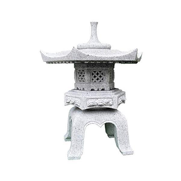 石灯篭 雪見灯篭 角型 岡崎型 天然御影石 1尺5寸(約48cm)高さ56cm 設置用資材付き