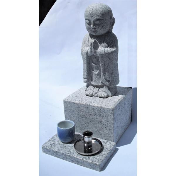 墓地設置専用:御影石供養(水子) 地蔵 高さ約38cm台座15cm×25cm、線香立、水鉢、設置用資材付き