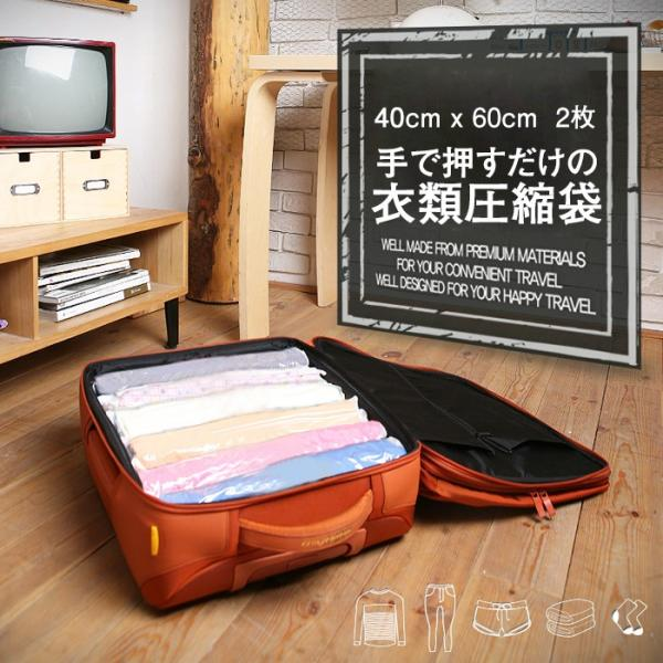 トラベルポーチ バッグインバッグ 掃除機を使わず 手で押すだけ 旅行用 出張 衣類 コンパクト 衣類圧縮袋2枚セット Lサイズ 送料無料