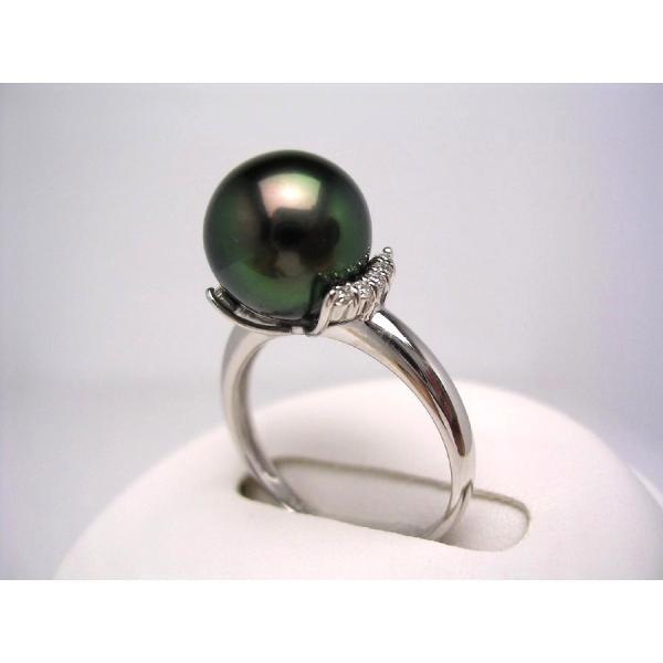 真珠 リング パール BlackLip花珠・ピーコックグリーンカラー 黒蝶真珠 真珠リング パールリング 10.1mm Pt900 プラチナ ダイヤモンド 0.10ct 43094
