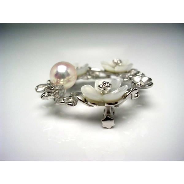 真珠 ブローチ パール アコヤ真珠 真珠ブローチ パールブローチ 8.67mm シルバー シェル 52871