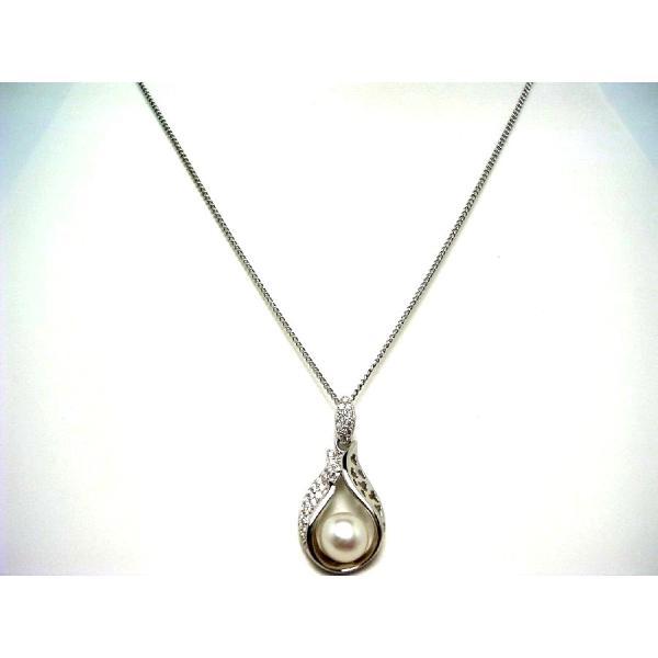 真珠 ペンダントトップ パール 淡水真珠 真珠ペンダント パールペンダント 7.0-7.5mm シルバー ジルコン 55649