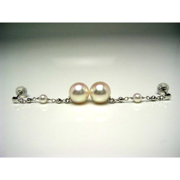 真珠 パール アコヤ真珠 スタッド ピアス 真珠ピアス パールピアス 8-8.5mm・2-2.5mm K18 ホワイトゴールド 56373