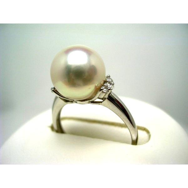 真珠 パール オーロラ・花珠 アコヤ真珠 リング 真珠リング パールリング 9.5mm Pt900 プラチナ ダイヤモンド 0.1ct 60041