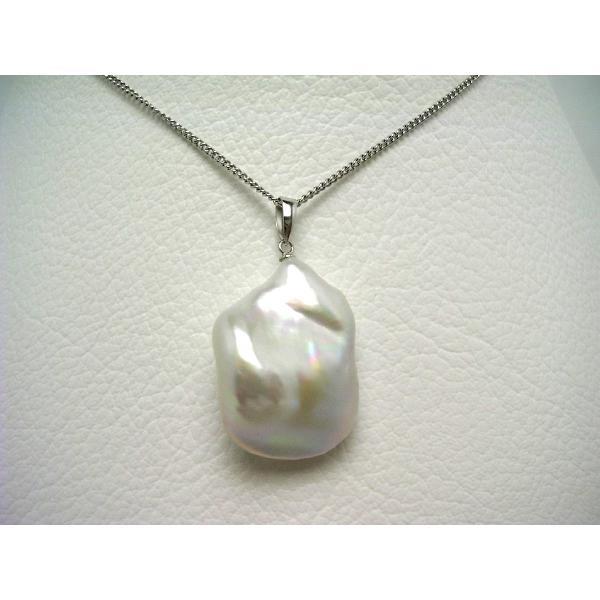真珠 ペンダントトップ パール 淡水真珠 真珠ペンダント パールペンダント 17.9×22.6mm K14 ホワイトゴールド 64671