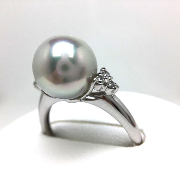 真珠 リング パール オーロラ・真多麻 アコヤ真珠 真珠リング パールリング 9.1mm Pt900 プラチナ ダイヤモンド 0.1ct 65310