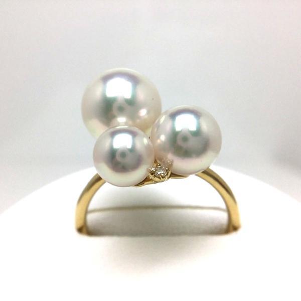 真珠 リング パール アコヤ真珠 真珠リング パールリング 5.5-8.5mm K18 イエローゴールド ダイヤモンド 0.04ct 65582