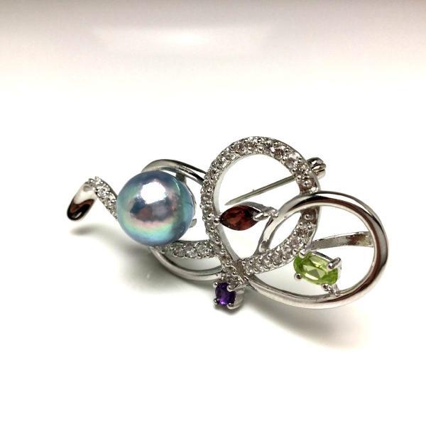 真珠 ブローチ パール アコヤ真珠 真珠ブローチ パールブローチ 9.7mm シルバー 天然石 65879