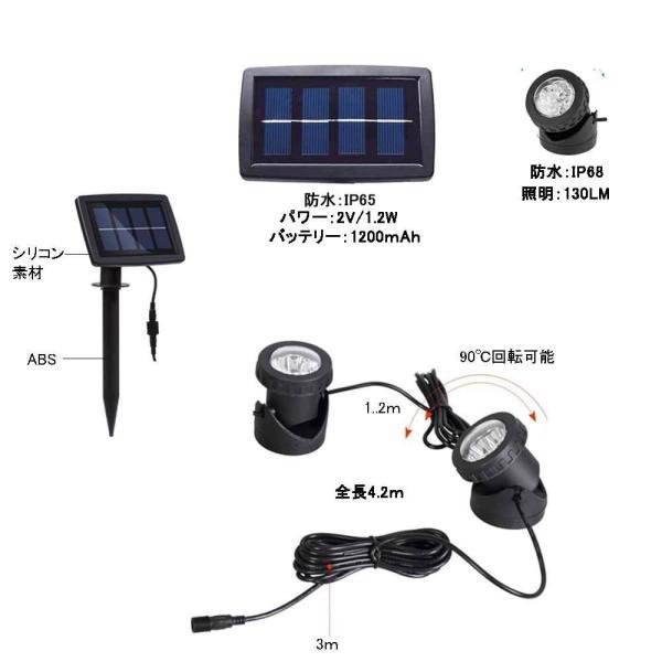 送料無料 ガーデンライト 2LEDセット ソーラーライト 屋外 スポットライト 水中ライト LED 防水 2LEDセット 防犯|isozaki-store|03