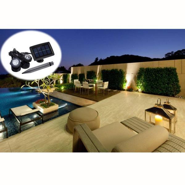 送料無料 ガーデンライト 2LEDセット ソーラーライト 屋外 スポットライト 水中ライト LED 防水 2LEDセット 防犯|isozaki-store|09