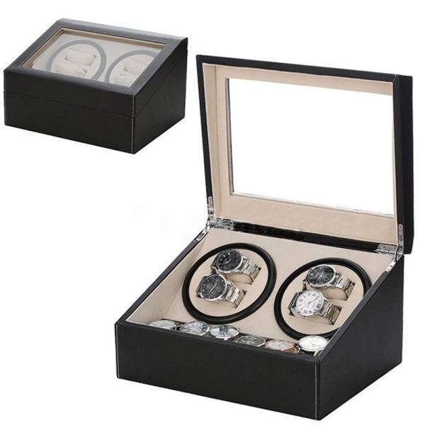 送料無料 高級ワインディングマシン ワインディング 腕時計 4本 ウォッチワインダー 赤と黒の2カラー 時計 静音設計 4本巻 自動巻き  ワインディングマシーン|isozaki-store