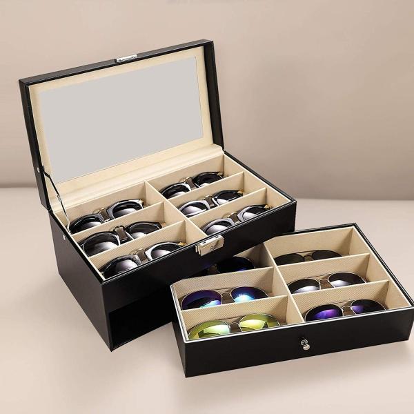 送料590円 メガネ サングラス 収納ボックス 12個 12本 収納 コレクション ケース 収納ケース 展示 ディスプレイ レザー風 おしゃれ