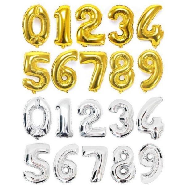 送料80円 誕生日 バルーン 数字 ナンバーバルーン 40cm ゴールド シルバー  風船 プレゼント|isozaki-store