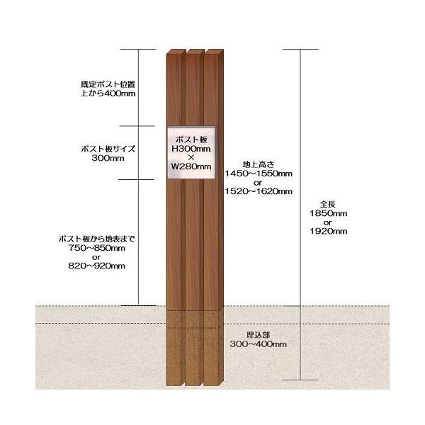 門柱をおしゃれに木目調で【完成品】門柱B型(ポスト別) チーク 高さ1m95cm×幅28.5cm ispage 03