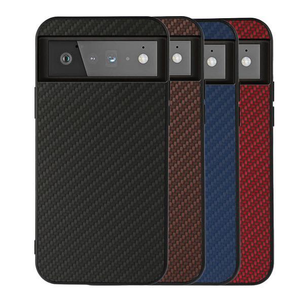 Pixel 6/Pixel 6 Pro ケース/カバー カーボン調 シンプル タフで頑丈 背面レザーケース グーグル ピクセル6 ピクセル6プロ ケース