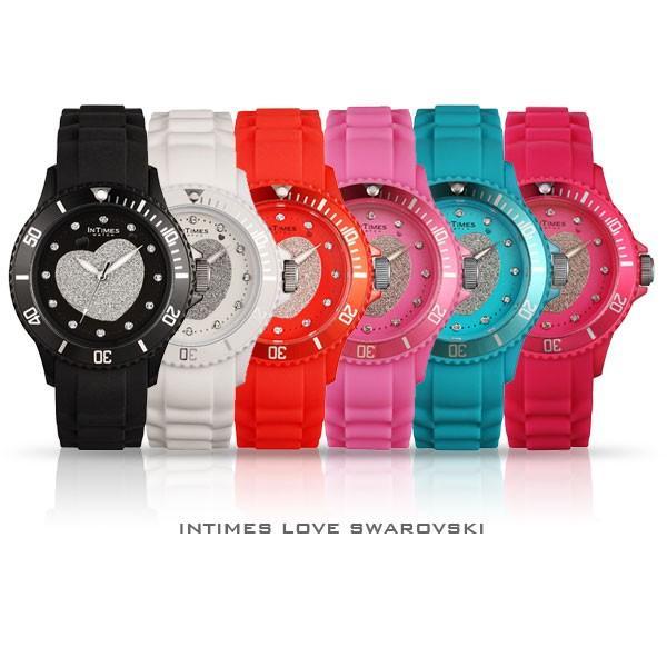 96e1c5fa02 ... 腕時計 レディース キッズ INTIMES インタイムス 子供 スワロフスキー かわいい キラキラ ハート ダイバー シリコンベルト 選べる6  ...