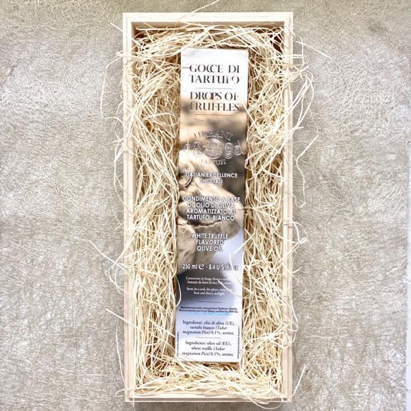 """敬老の日 白トリュフオイル ウルバーニ 250ml """"Goce di Tartufo"""" イタリア産オリーブオイル 木箱入り"""
