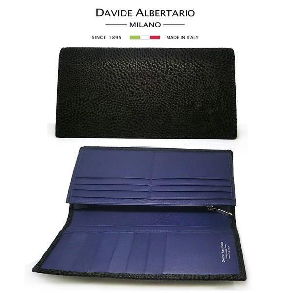 二つ折り長財布 本革 フラップ ブラックレザー 財布 メンズ ダビデアルベルタリオ DAVIDE ALBERTARIO(t807-1) 2041nb|italybag