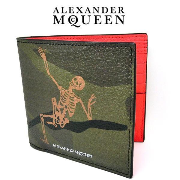 アレキサンダー マックイーン 折りたたみ財布 メンズ スカル本革レザー 二つ折り 8082545175(t812-1)Alexander McQueen 497244|italybag