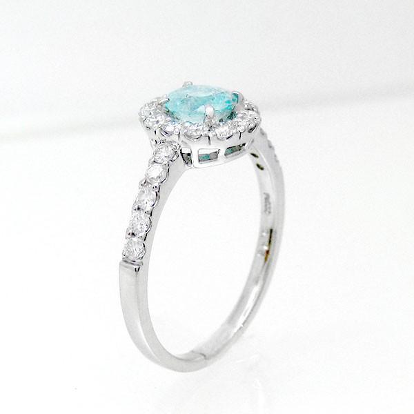 リング パライバトルマリン PT900 r778 色石 ダイヤモンド (t612) (30r) 指輪 宝石 誕生石 1点もの ダイア