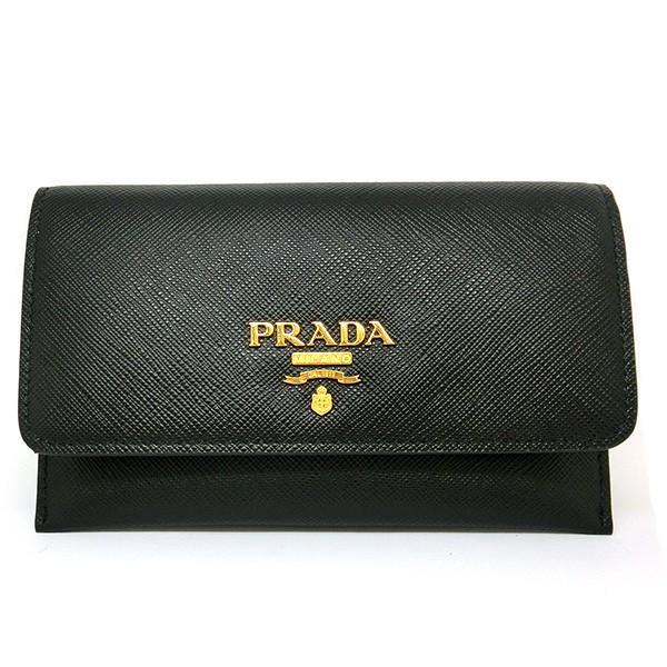 プラダ カードケース PRADA SAFFIANO TRIANGOLO 長財布 フラップ式 サフィアーノメタル 本革レザー 1mc004 (t812-1)
