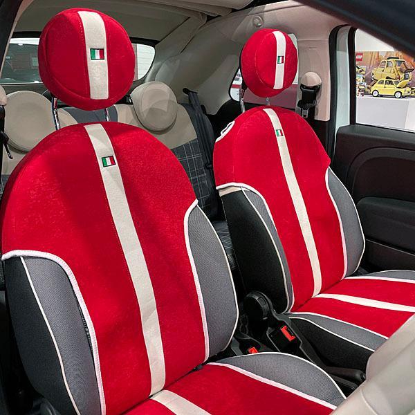 フィアット NEW 500シートカバー&ヘッドレストセット -SMOKING RED-|itazatsu