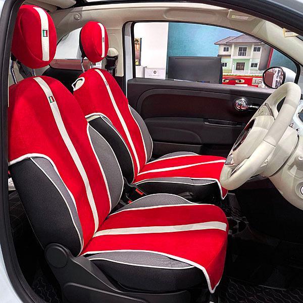フィアット NEW 500シートカバー&ヘッドレストセット -SMOKING RED-|itazatsu|02
