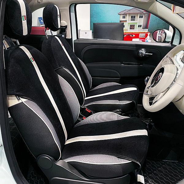 フィアット NEW 500シートカバー&ヘッドレストセット -SMOKING BLACK-|itazatsu|02