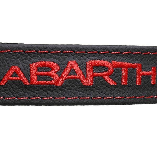 アバルト 500リアゲート用レザーストラップ (ブラックベース/アバルトロゴレッド) itazatsu 03