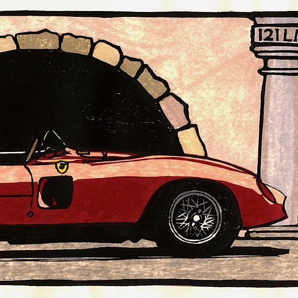 クルマの木版画 フェラーリ 212 Le Mans 額装 by 音丸版画|itazatsu|04