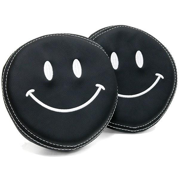 フィアット NEW 500用ケミカルレザーヘッドレストカバー (Smile/ブラック)|itazatsu