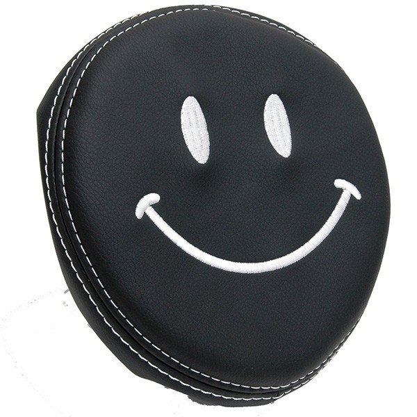 フィアット NEW 500用ケミカルレザーヘッドレストカバー (Smile/ブラック)|itazatsu|02