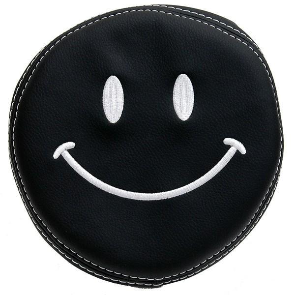 フィアット NEW 500用ケミカルレザーヘッドレストカバー (Smile/ブラック)|itazatsu|03
