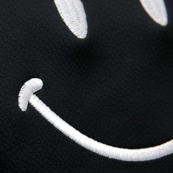 フィアット NEW 500用ケミカルレザーヘッドレストカバー (Smile/ブラック)|itazatsu|04