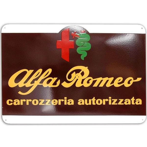 アルファロメオ ホーローサインボード-CARROZZERIA AUTORIZZATA- 800mm|itazatsu