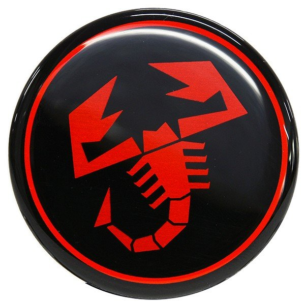 アバルト ホイールセンターキャップ(ブラック/レッドスコーピオン/48mm)|itazatsu|02