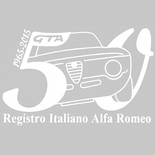 アルファロメオ GIULIA GTA 50周年記念ロゴステッカー(ホワイト) by RIA(Registro Italiano Alfa Romeo)|itazatsu