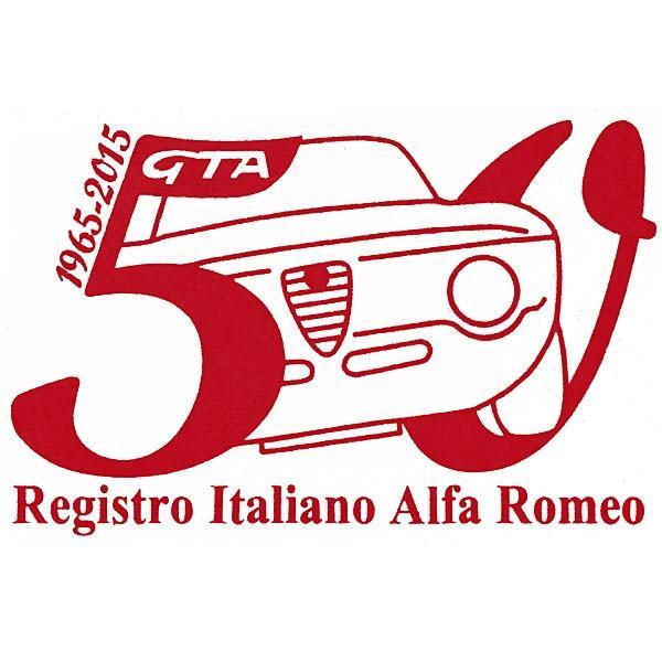 アルファロメオ Giulia GTA 50周年記念ロゴステッカー(レッド) by RIA(Registro Italiano Alfa Romeo)|itazatsu
