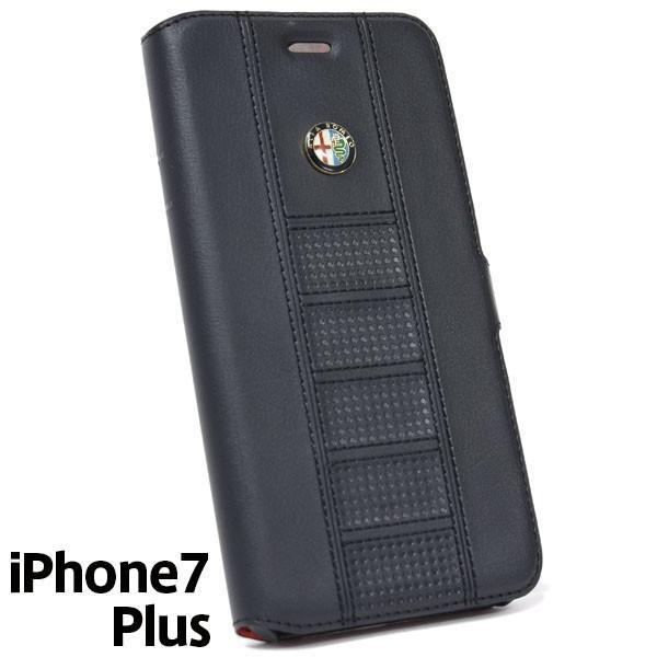 アルファロメオ純正 iPhone7/6/6s Plus手帳型ソフトケース(ブラック) itazatsu